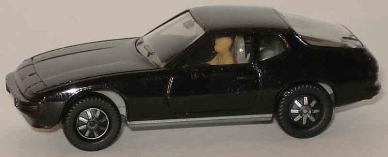 Foto 1:87 Porsche 924 schwarz, Bodenplatte grau mit Fahrerfigur herpa 2002