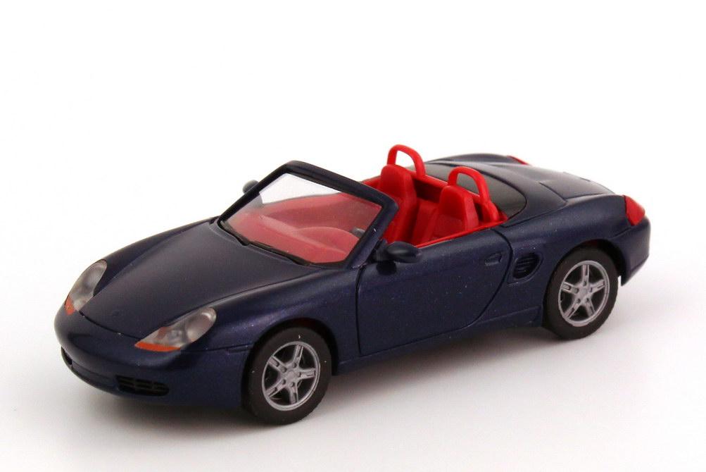 Foto 1:87 Porsche Boxster (986) dunkelblau-met., IA rot herpa 032193