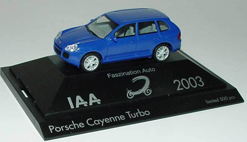 Foto 1:87 Porsche Cayenne Turbo blau IAA 2003 - Faszination Auto herpa 265898