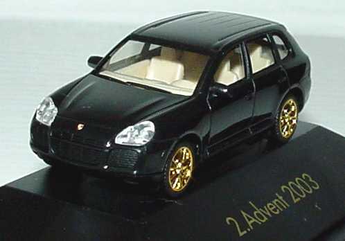 Foto 1:87 Porsche Cayenne Turbo schwarz/gold 2. Advent 2003 herpa 149495