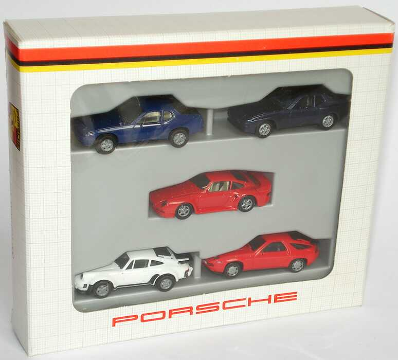 Foto 1:87 Porsche Set-Packung mit 5 Pkws (924 dunkelblau + 944 dunkelblau-met. + 959 rot + 911 turbo weiß + 928 S4 rot) Werbemodell herpa WAP241000