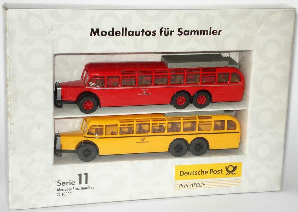 Foto 1:87 Post-Set Serie 11 Mercedes-Benz Omnibus O 10000 (rot Deutsche Reichspost + gelb Deutsche Bundespost) Brekina