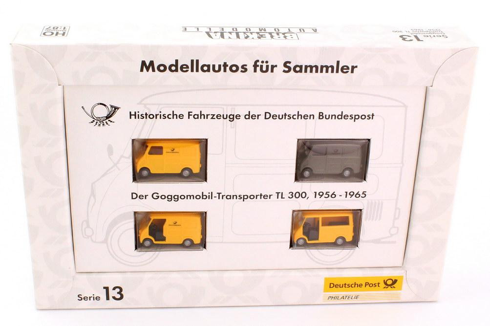 Foto 1:87 Post-Set Serie 13 Historische Fahrzeuge der Deutschen Bundespost (4x Goggomobil Transporter TL 300) Brekina 006760