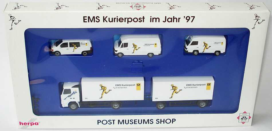 Foto 1:87 Post Museums Shop Setpackung EMS Kurierpost im Jahr ´97 (MB Vito + MB 207D + MB 100 + Volvo FH 16 Hgz) herpa 93-03/98
