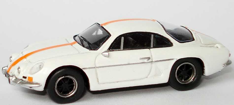 Foto 1:87 Renault Alpine A110 1300S weiß, Racingstreifen orange Spark 87S100