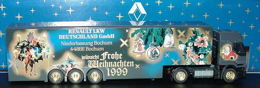 Foto 1:87 Renault Premium KoSzg Cv 2/3 Renault LKW Niederlassung Bochum wünscht frohe Weihnachten 1999 Albedo