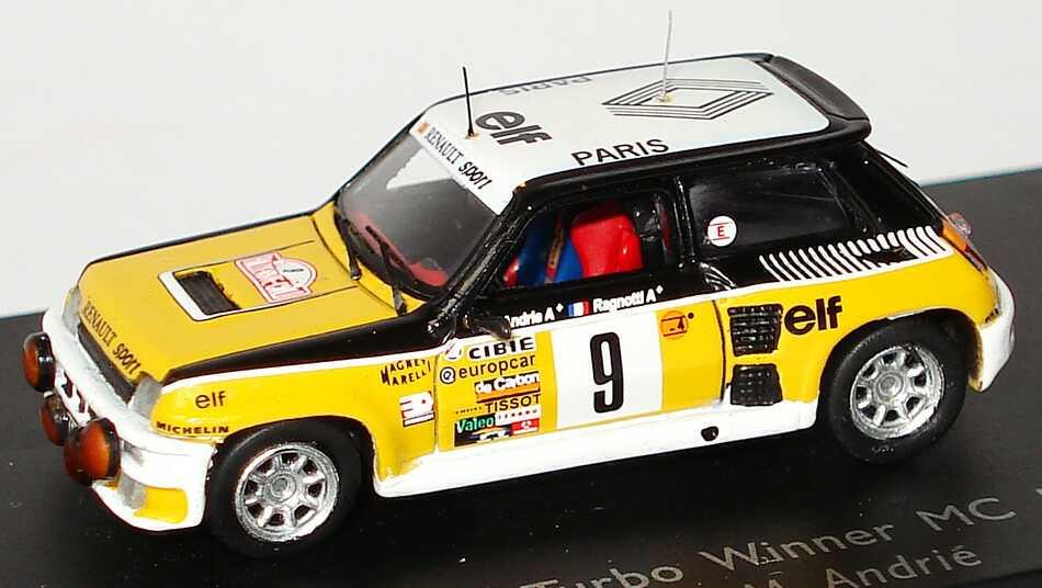 Foto 1:87 Renault R5 Turbo Rallye Monte Carlo 1981 Renault, elf Nr.9, Ragnotti / Andrié (Siegerfahrzeug) Spark 87S017