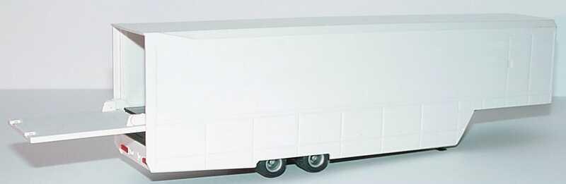 Foto 1:87 Renntransport-Auflieger 2a weiß B&S Automodelle