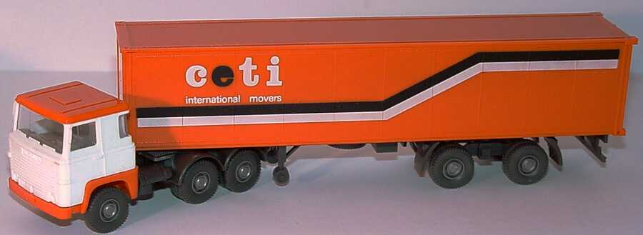 Foto 1:87 Scania R111 40CoSzg 3/2 ceti - international movers (Dach orange) Wiking 520