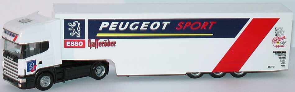 Foto 1:87 Scania R144 Topline Fv Cv RenntransportSzg 2/3 Peugeot Sport STW Cup herpa 037273