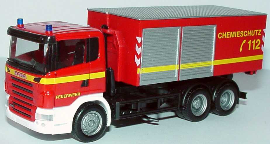 Foto 1:87 Scania R 420 (K) 3a Abrollkipper mit Gerätecontainer Feuerwehr, Chemieschutz herpa 046695