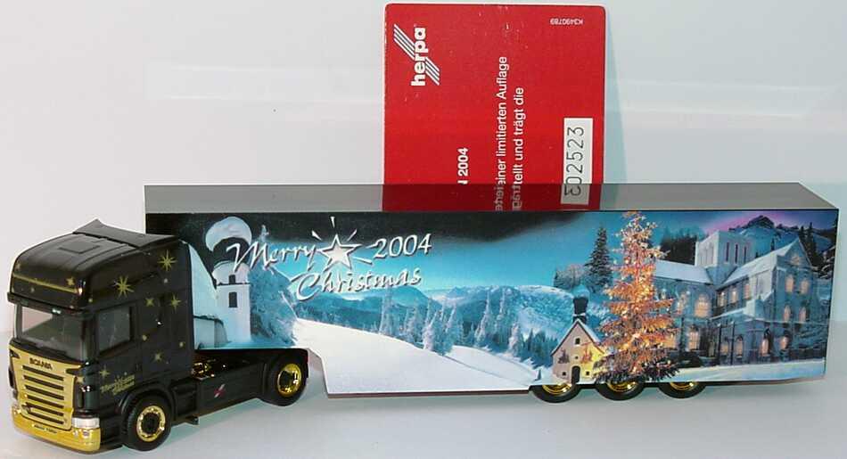 Foto 1:87 Scania R 580 Topline Fv Cv KoSzg Cv Merry Christmas 2004 Weihnachtsmodell  (Auflage 3700 Stück, mit Zertifikat) herpa 150620