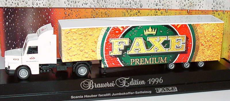 Foto 1:87 Scania T143 Topline Fv JuKoSzg 2/3 Faxe Premium, Beyggerigruppen A/S (Brauerei-Edition 1996) herpa 184618
