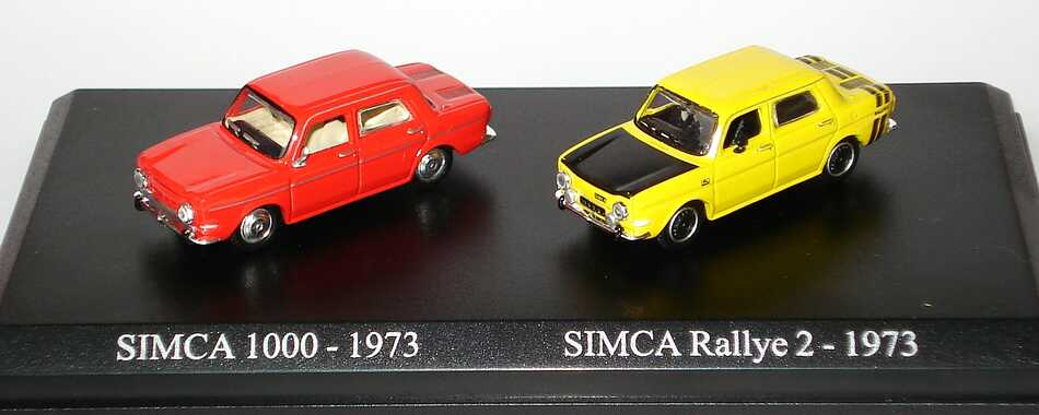 Foto 1:87 Simca 1000 (1973) (rotorange + Rallye 2 gelb) Atlas Editions