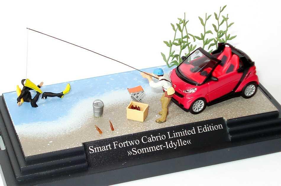 Foto 1:87 Smart Fortwo II Cabrio Sommerdiorama Sommer-Idylle Werbemodell Busch B66961393