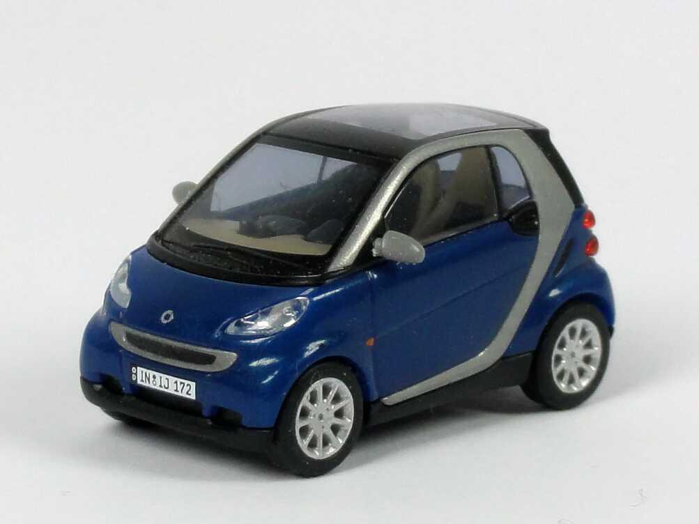 Foto 1:87 Smart Fortwo II Coupé blau-met. Busch 46105