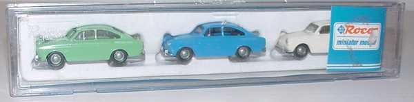 Foto 1:87 VW 1500 Setpackung mit drei Modellen (patinagrün, blau, altweiß) Roco 1441