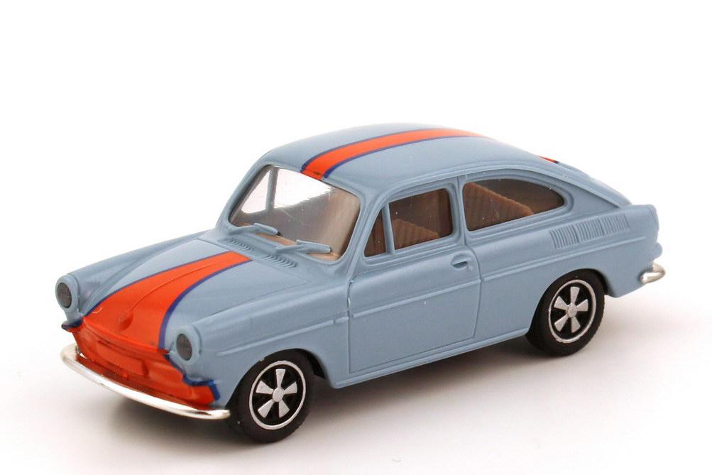 Foto 1:87 VW 1600 TL Fließheck gulf-custom gulf-blau / orange mit Fuchs-Felgen Brekina 26206