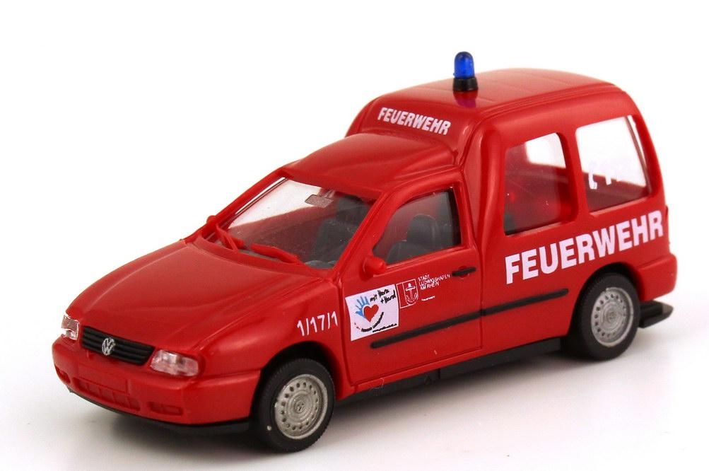 Foto 1:87 VW Caddy II Kombi (Typ 9KV) Feuerwehr Ludwigshafen rot AMW/AWM 72137