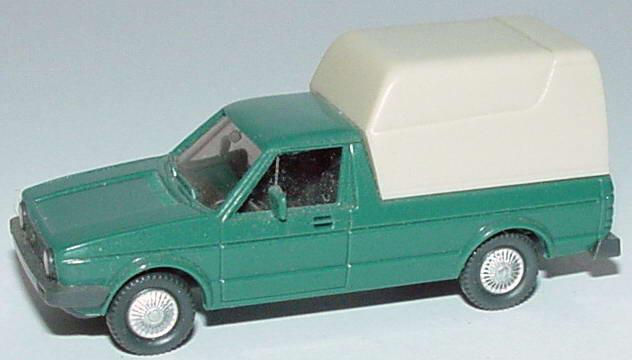 Foto 1:87 VW Caddy I (Typ 14D) patina-grün mit Ladeflächenaufsatz Wiking 047