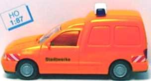 Foto 1:87 VW Caddy Kasten Stadtwerke orange mit Blaulicht Rietze