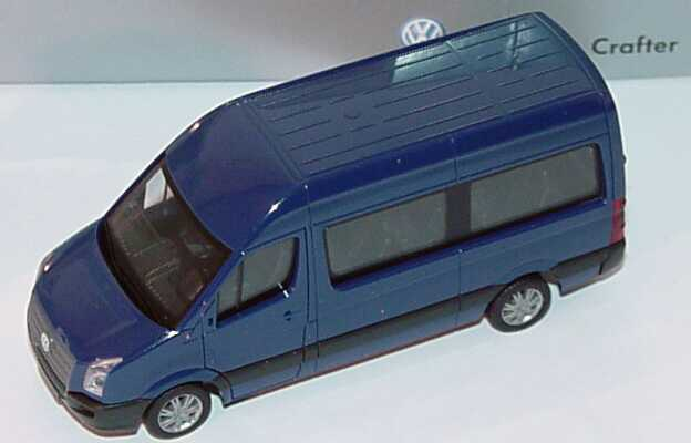 Foto 1:87 VW Crafter Bus Hochdach stahlblau Werbemodell herpa 2E0099301L5M