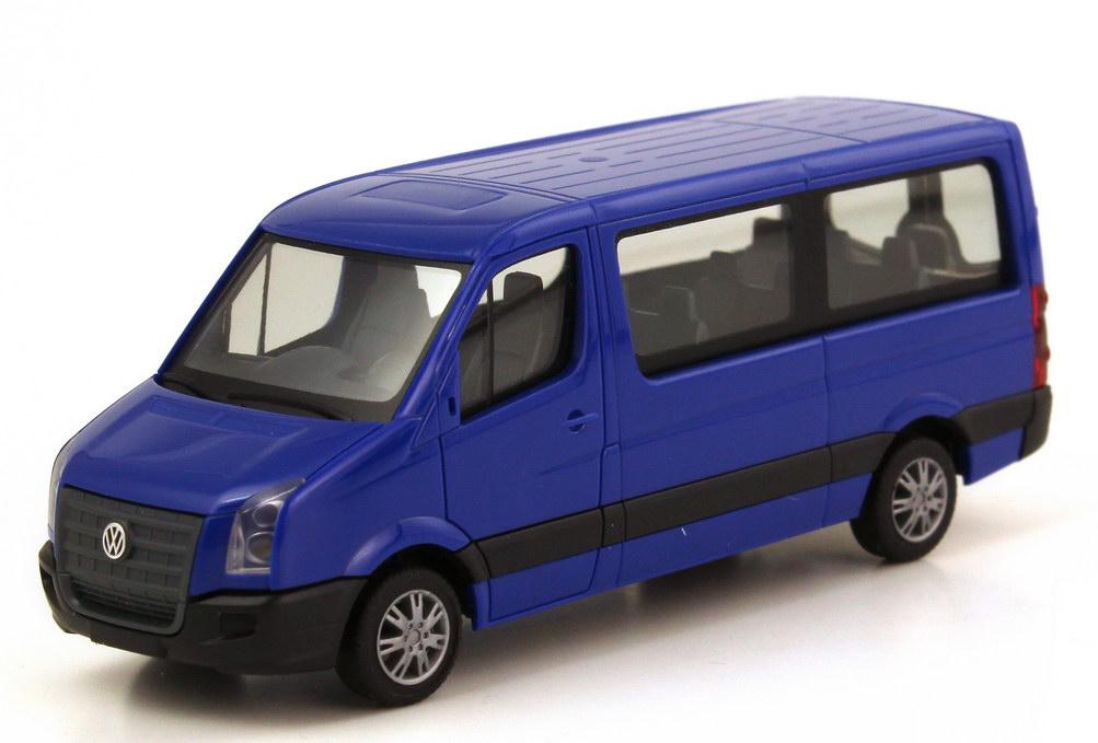 Foto 1:87 VW Crafter Bus blau herpa 047098