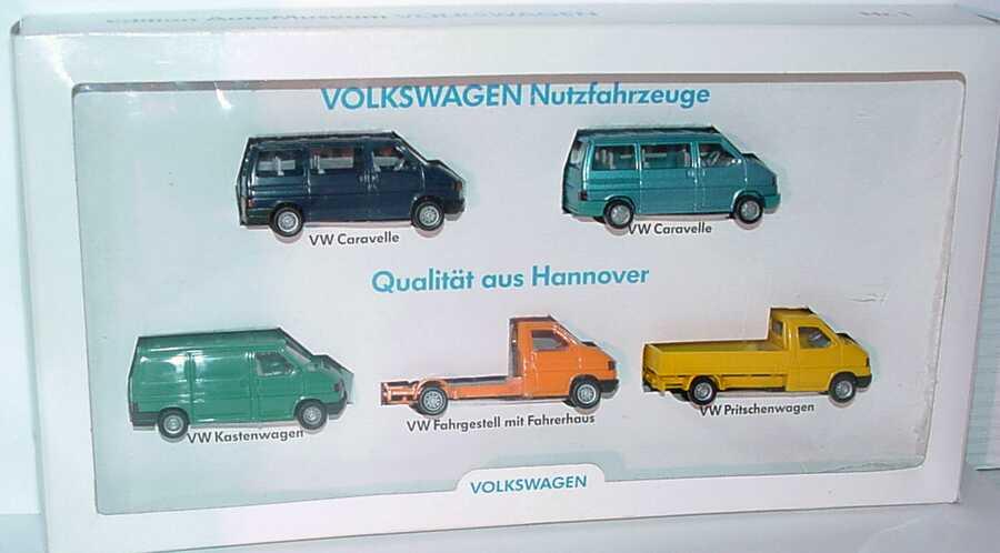 Foto 1:87 VW Edition Automuseum Nr.1 Qualität aus Hannover (2x T4 Caravelle + T4 Kasten + T4 Pritsche + T4 Fahrgestell) Werbemodell Wiking