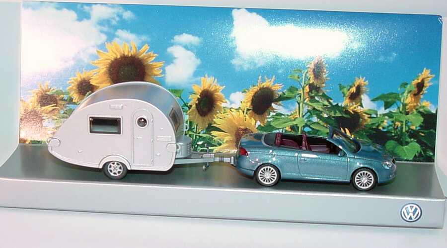 Foto 1:87 VW Eos eismeerblau-met. (IA rot) mit Tabbert T@b Wohnwagen Werbemodell Wiking 1F0099301A