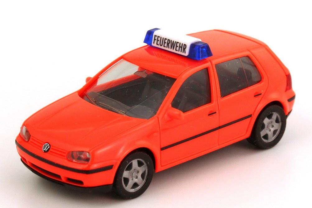 Foto 1:87 VW Golf IV 4türig Feuerwehr tagesleuchtrot herpa 044479