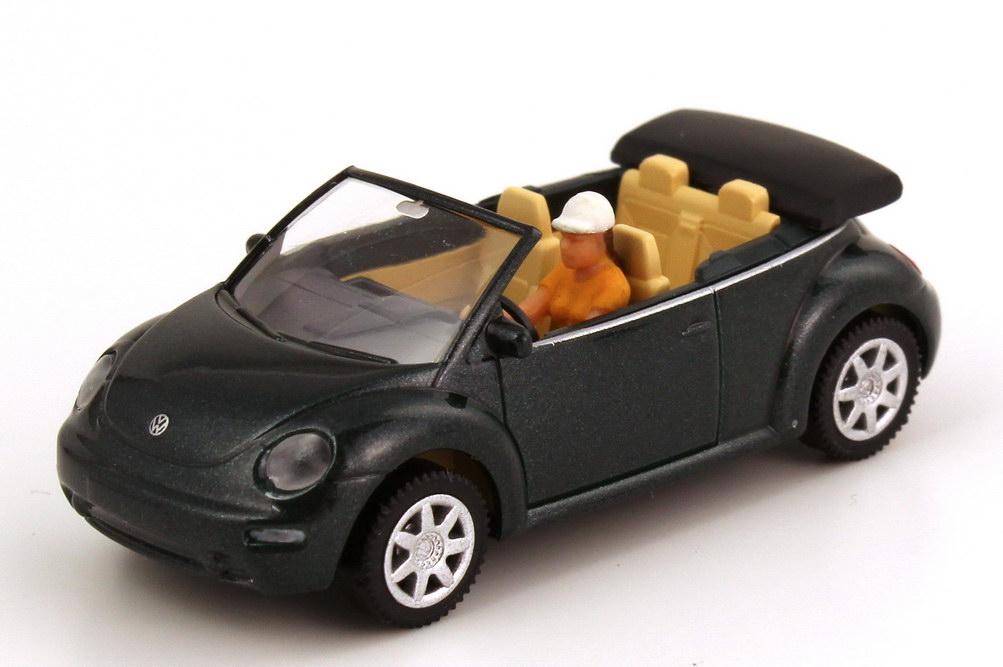 Foto 1:87 VW New Beetle Cabrio nordsee-grün-met. mit Fahrerin Wiking 03201