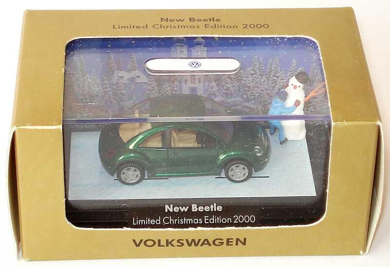 Foto 1:87 VW New Beetle grün-met. mit Junge und Schneemann Limited Christmas Edition 2000 Werbemodell Wiking