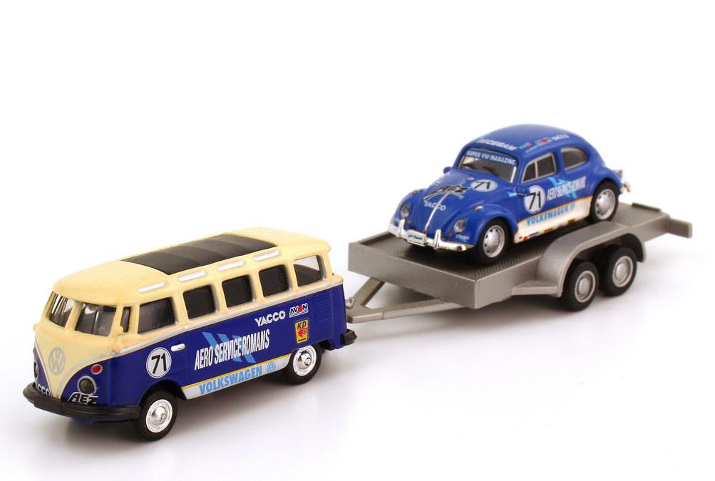Foto 1:87 VW T1 Bus Samba mit VW Käfer auf Trailer Beetle Cup Team Aero Services Romans Nr.71 Schuco 25063