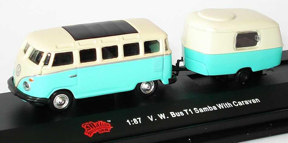 1zu87_VW_T1_Bus_Samba_tuerkis_beige_mit_Wohnwagen_Malibu_International_06000_17472_01.JPG