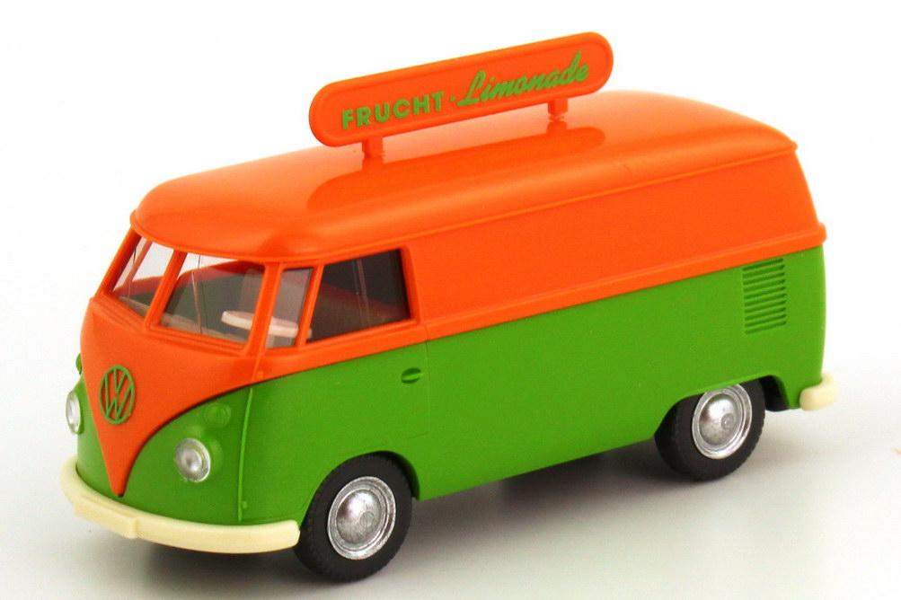 Foto 1:87 VW T1 (T1b) Kasten mit Dachschild Frucht-Limonade orange/grün Wiking 79701