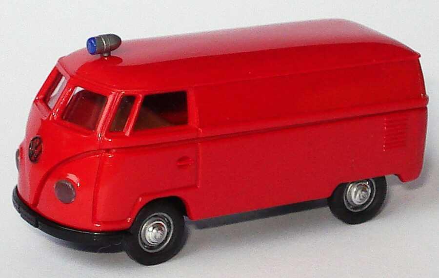 Foto 1:87 VW T1a Kasten Feuerwehr rot Brekina 32200
