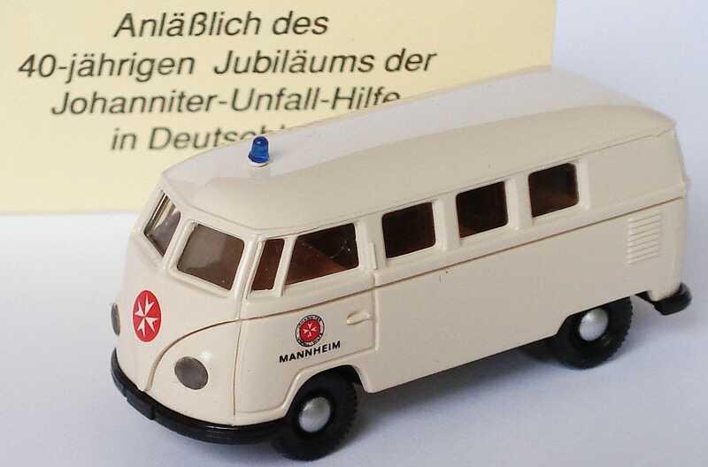Foto 1:87 VW T1b Bus Johanniter-Unfall-Hilfe Mannheim (40 Jahre Johanniter-Unfall-Hilfe in Deutschland) Brekina