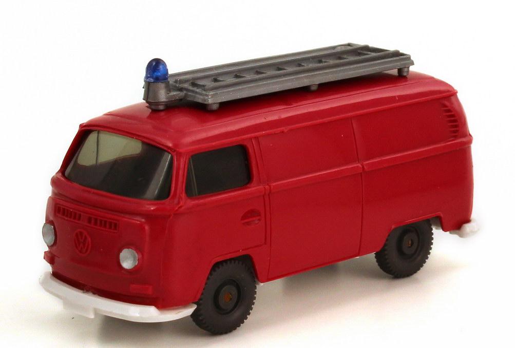 Foto 1:87 VW T2 (T2a) Kasten mit Dachaufbau Feuerwehr rot Wiking 603