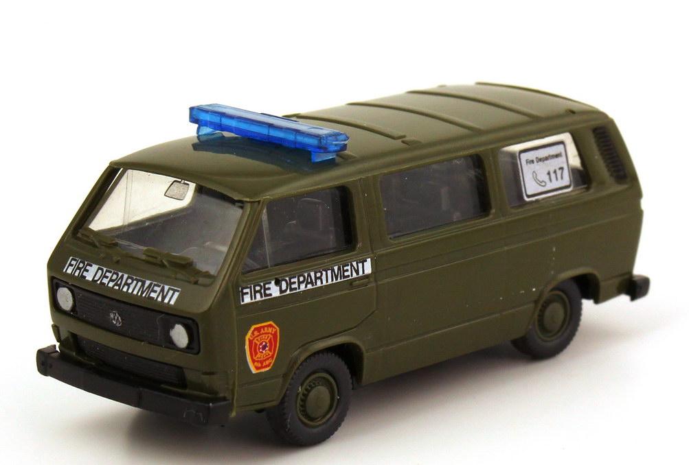 Foto 1:87 VW T3 Bus US Army Fire Department olivgrün Roco Minitanks AusSet597