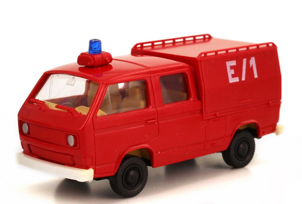 Foto 1:87 VW T3 Doka mit Sonderaufbau Bundeswehr Feuerwehr rot, Kennung E/1 Roco Minitanks 658