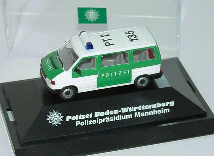 Foto 1:87 VW T4 Bus PT 2 135, Polizeipräsidium Mannheim herpa
