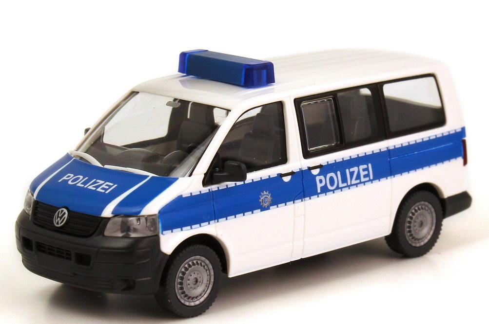 Foto 1:87 VW T5 Bus Bundespolizei weiß/blau Wiking 10431/014032