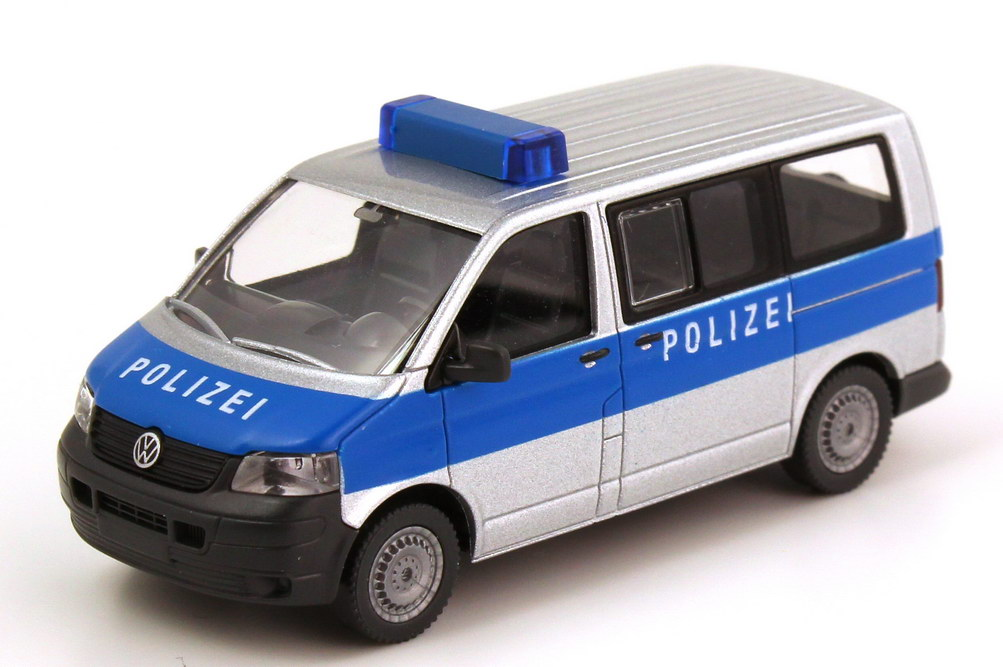 Foto 1:87 VW T5 Bus Polizei silber/blau Wiking 10423/014023
