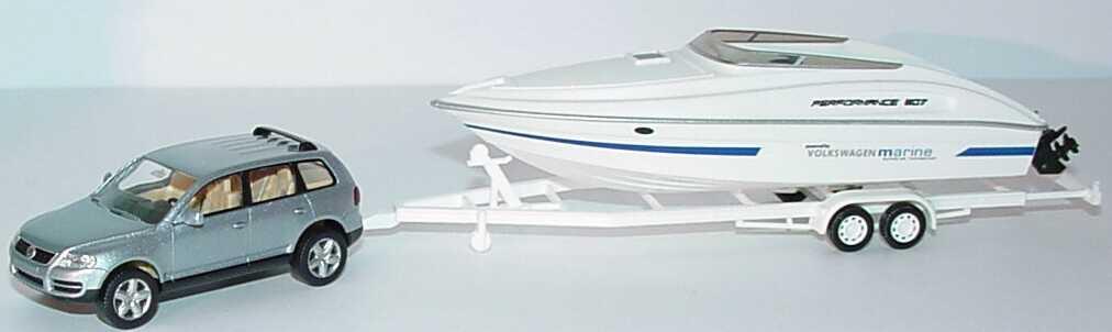 Foto 1:87 VW Touareg silberblau-met. mit Trailer und Speedboot Performance 807 weiß Wiking 09701/009701