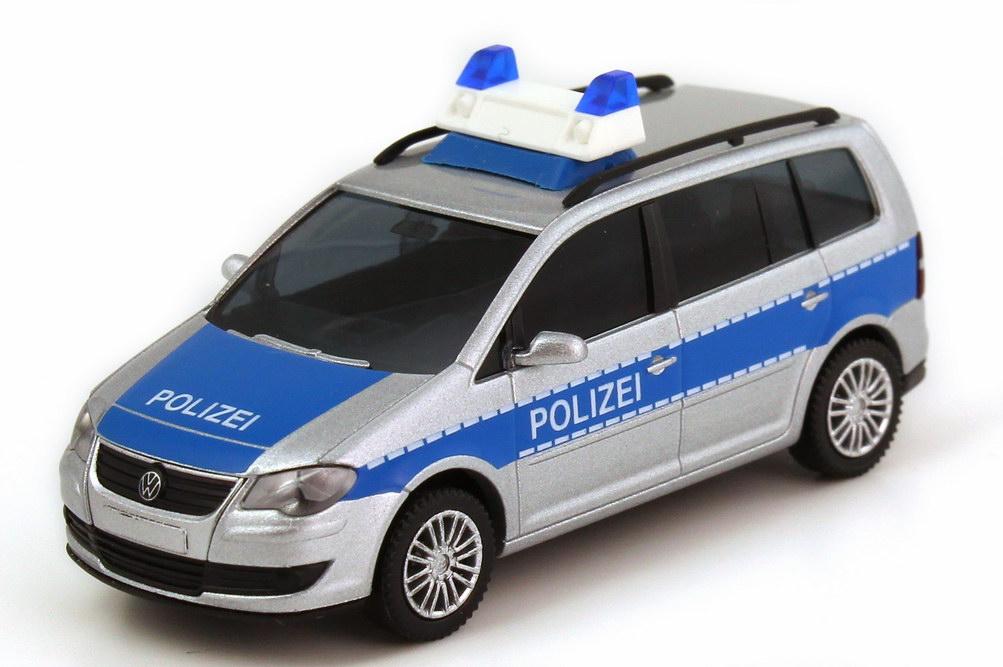 Foto 1:87 VW Touran Facelift (Typ 1T GP) Polizei silber-met./blau Wiking 10433