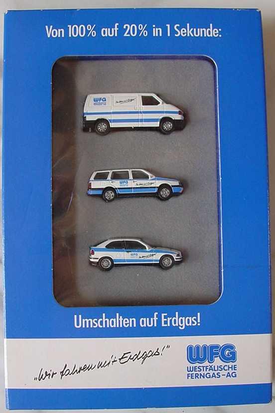 Foto 1:87 WFG - Westfälische Ferngas AG Wir fahren mit Erdgas! (VW T4, VW Gollf II Variant, BMW 3er Compact) Wiking