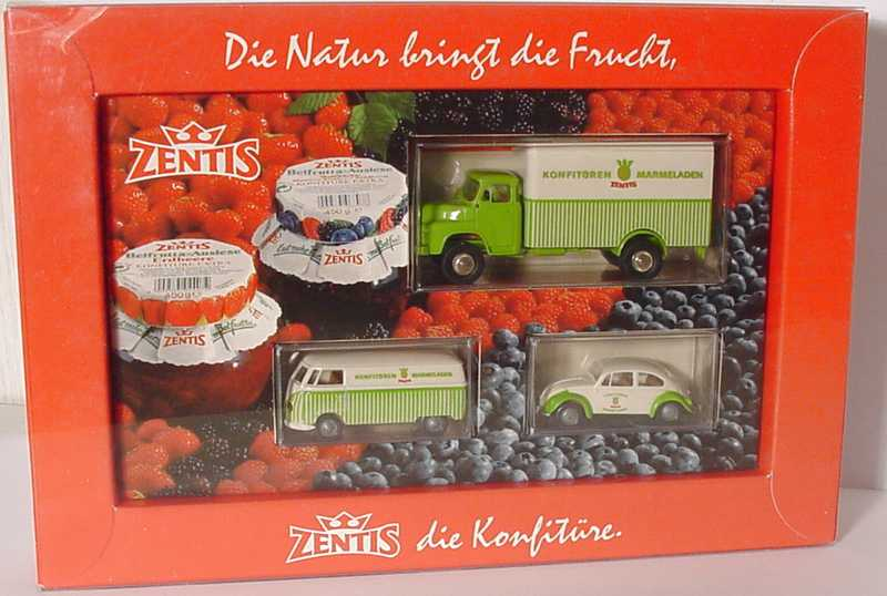 Foto 1:87 Zentis Set-Packung (MAN 650 2a Ko-LKW + VW T1a Kasten + VW Käfer) Brekina 90320