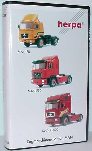 Foto 1:87 Zugmaschinen-Edition MAN (MAN F8 orange + MAN F90 Fv Cv rot + MAN F2000 Hochdach Fv Cv weinrot) herpa 186193
