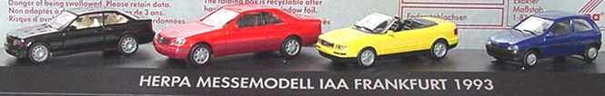 Foto 1:87 herpa Messemodell IAA Frankfurt 1993 (BMW M3 (E36) schwarz, MB 600SEC rot, Audi Cabrio gelb, Opel Corsa B 2türig blau) herpa