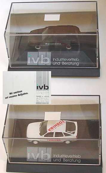 Foto 1:87 ivb (2 PC-Modelle in großem Umkarton, Opel Vectra Fließheck Toshiba+VW Passat Variant Panasonic) herpa
